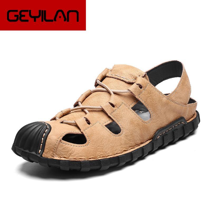 Tamaño 39-48 de la playa de la sandalia plana Ligera de goma grande resistente al desgaste de los hombres clásicos de los hombres sandalias de cuero genuino zapatillas de verano