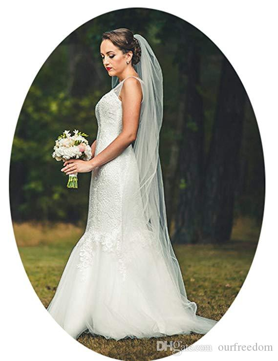 Voiles de mariée mariage pas cher 2m 2 couches de voile de mariée en ivoire blanc avec peigne long voile de mariage en tulle simple