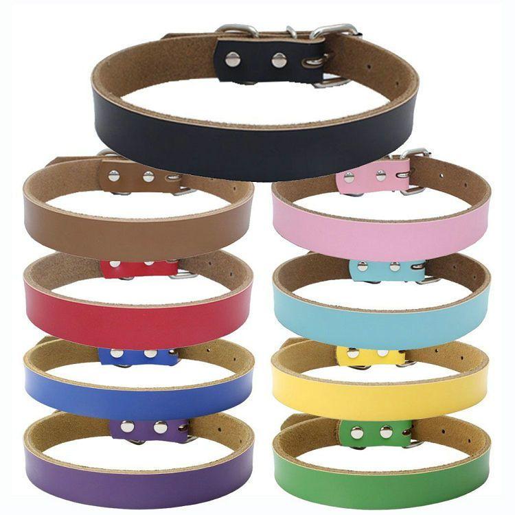 9 neue Art-Hundehalsbänder PU-Leder-Welpen-Halskette mit Nieten Haustier-Hundehalsband verstellbar Hals Collare Cane Für Zug Hold-Weg-Hundehalsbänder