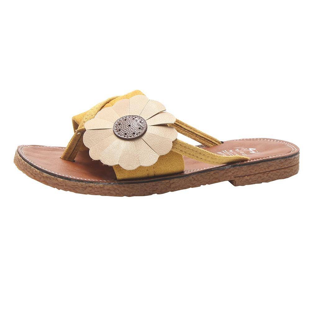 Toe sagace Pantuflas de mujer romana Flores Zapatillas Ronda planos de la playa nueva de la manera ocasional femenina de estilo Slipper9031411