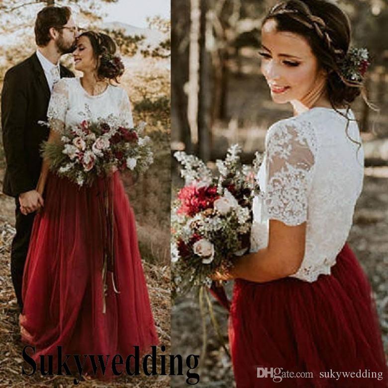 2019 Two Pieces País vestidos de noiva Lace Top Burgundy Tulle saia Garden vestidos de noiva longo Andar Vestidos Duração dama