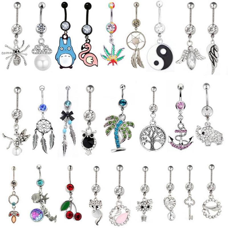 2PC New Arrival Pendant Belly Button Rings Sexy Body Piercing Bars Piercings Navel Piercing Gothic Fine Jewelry Wedding Jewelry