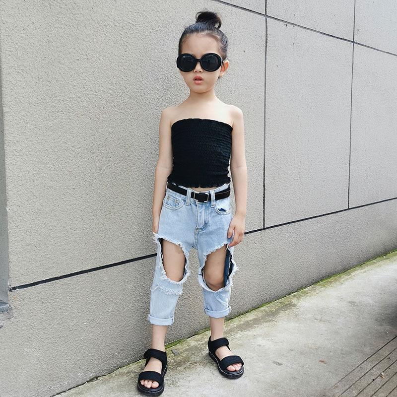 Yırtık Delik Kot Pantolon Denim Açık Mavi Yaz Kesim Hollow Out Pantolon Capris Bebek Kız Bebek Streetwear Çocuklar 3 ila 12 yaş arası