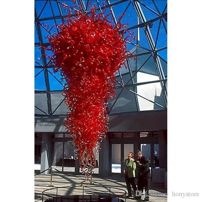 Novas publicações Tamanho Grande Red Glass Art Luz de teto mão Cadeia Blown Lâmpada de suspensão para Museu Igreja Decor