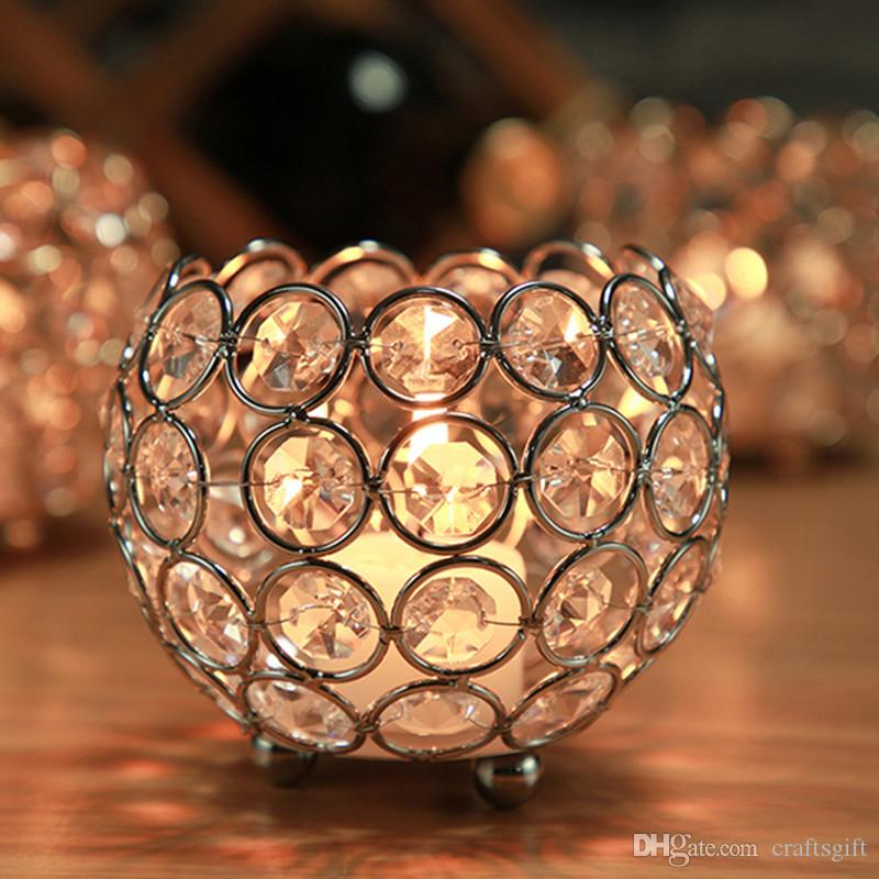 Creative Metal Gold Crystal Bowl Candle Holder Morocco Tealight Candle Stand for Wedding Candelabra Table Centerpiecs