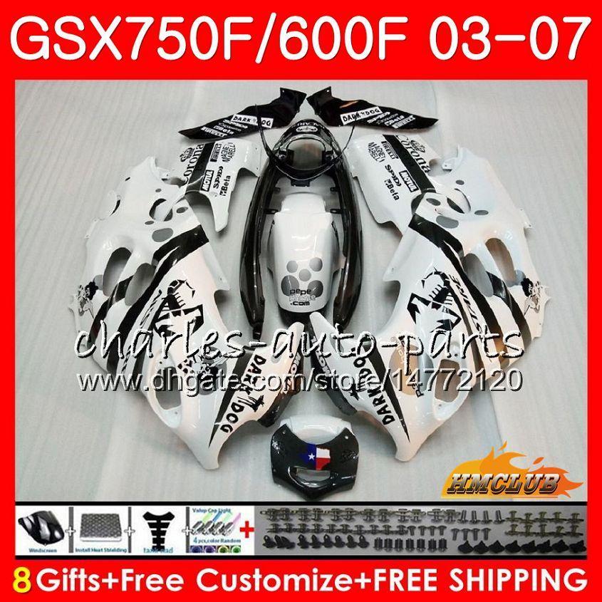 Kit per il corpo per Suzuki Katana GSXF600 Scorpion Bianco GSXF750 03 04 05 06 07 3HC60 GSX750F GSX600F GSXF 750 600 2003 2004 2005 2006 2007 Fairing