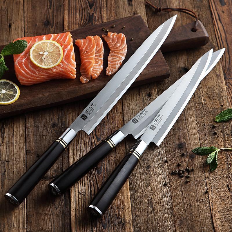 YKC Hot 240/270 / 300mm Filitiermesser mit Scheide X5cr15mov Stahl Küchenmesser japanische Sashimi Sushi Deba Messer Griff aus Ebenholz