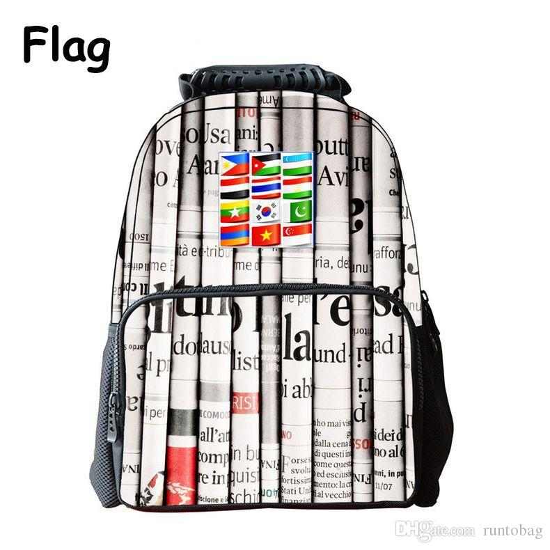 iMaySon White Schoolbag 3D Printing World Flag Cute Casual Kid Unisex Boy Felt Backpack Printing Shoulders Bags School Girls Teenager Retail