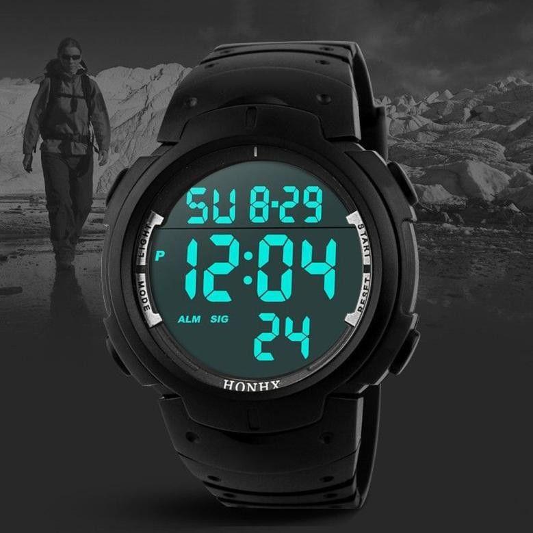 الرجال HONHX أزياء العلامة التجارية للماء الصبي ووتش ساعة توقيت رقمية LCD التسجيل المطاط رياضة الرجال ساعة المعصم الساعات zegarek