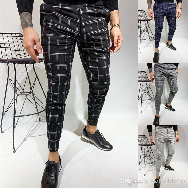 Mens Double Check Imprimer Pantalons simple Spring Fashion Slim Fit Casual Male Crayon Pantalons Hommes Pantalons Designer