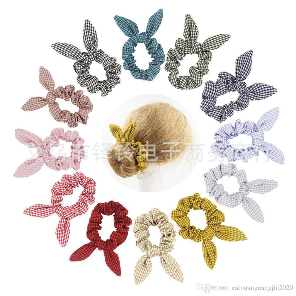 INS Ekose Checker Saç Scrunchies Yay Kadın Aksesuarları Saç Bantları Kravatlar Scrunchie At Kuyruğu Tutucu Kauçuk Halat Dekorasyon Bunny Kulakları