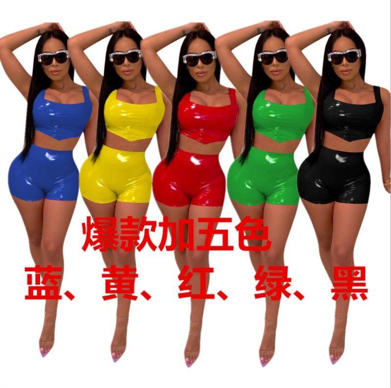 Mulheres de roupas de couro PU sling duas peças set treino feminino sexy jogging esporte terno mulheres sportswear calças justas esporte terno klw0524