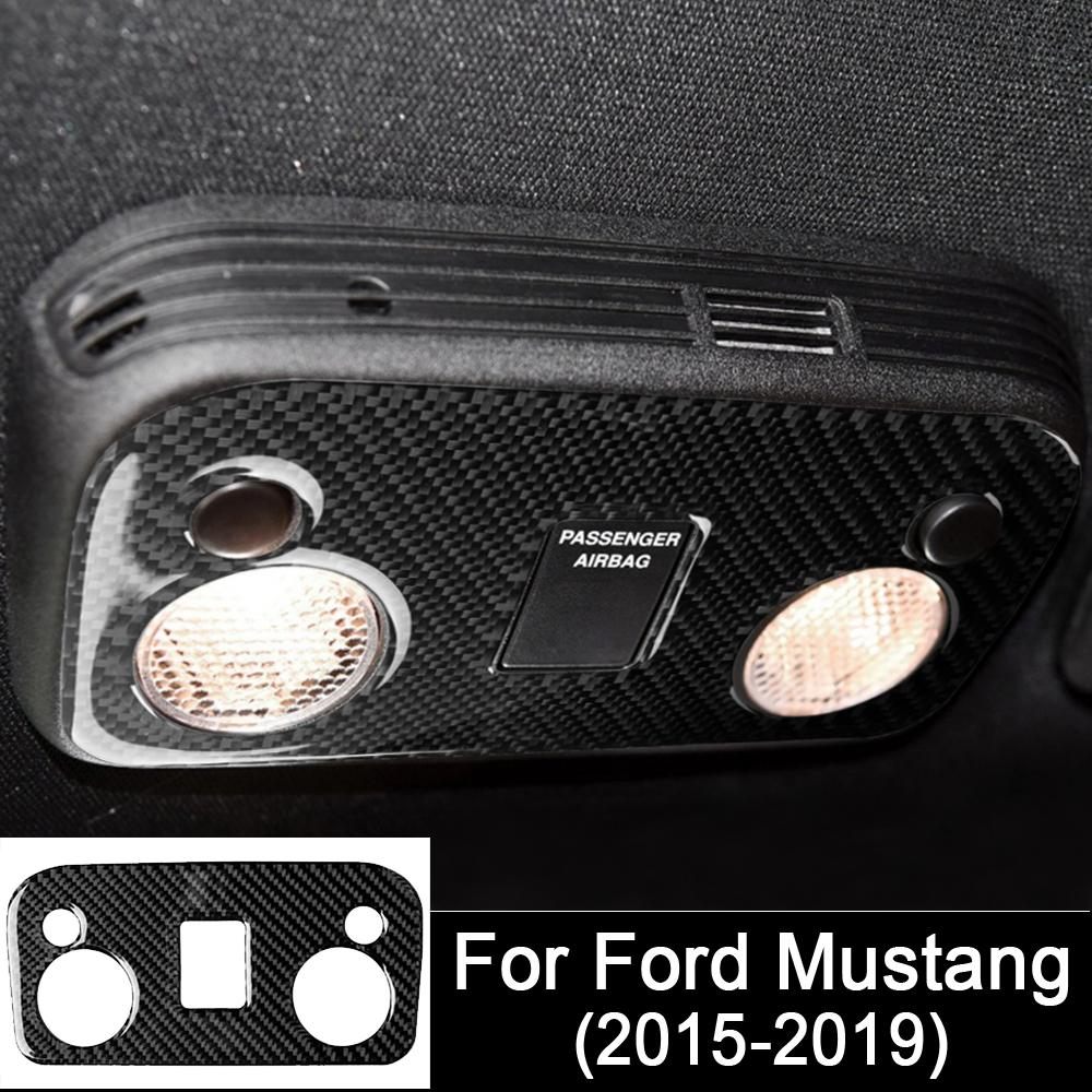 Car Interior Accessories Real Carbon Fiber Reading Light Control Panel Trim Auto Sticker Car styling For Ford Mustang 2015-2019
