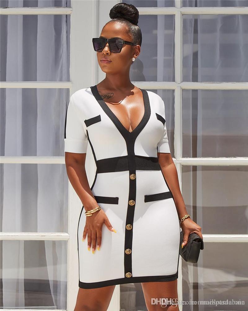 Женская дизайнер платье Sexy панелей V шея Платье-футляр вскользь тонкая Женский OL одежда