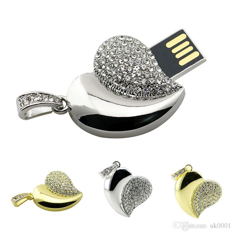 Pen Drive Lovely Heart USB Flash Drive 8gb 16gb 64GB 32gb Flash Memory Stick Crystal Fashion key gifts for love Pendrive