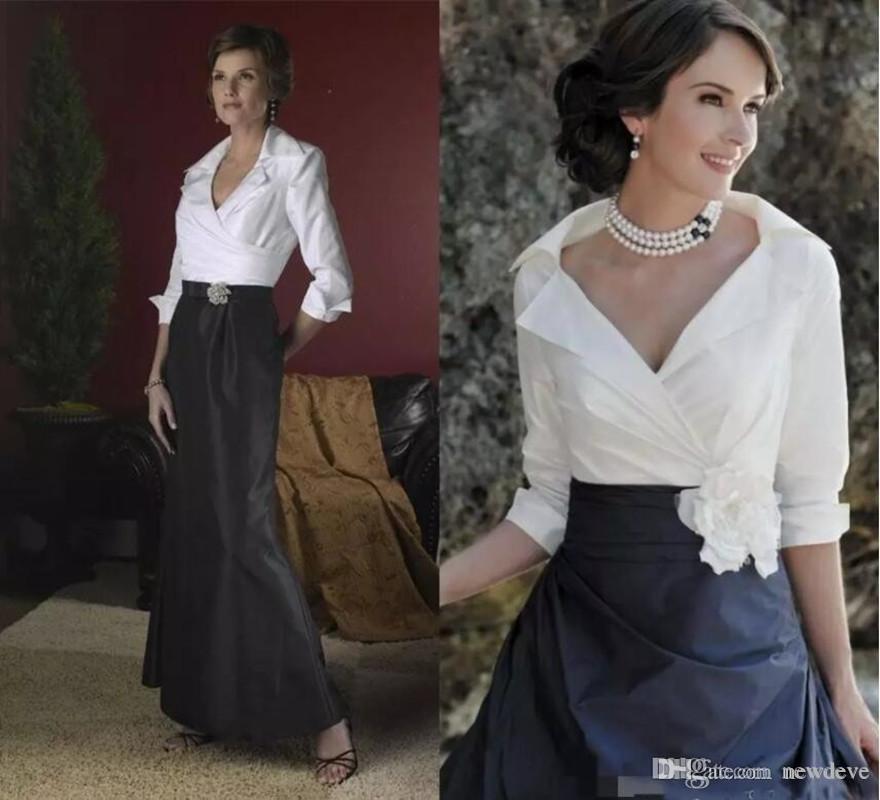 Vestidos elegantes para la madre de la novia Vestidos formales con cuello en V Vestidos de noche Mangas largas Hasta el suelo Más el tamaño Vestido de madre