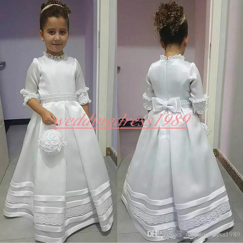 Beautiful A-Line Half Sleeve Satin Girls Pageant Dress Lace Applique Girl Communion Dress Kids Formal Wear Flower Girls Dresses for Wedding