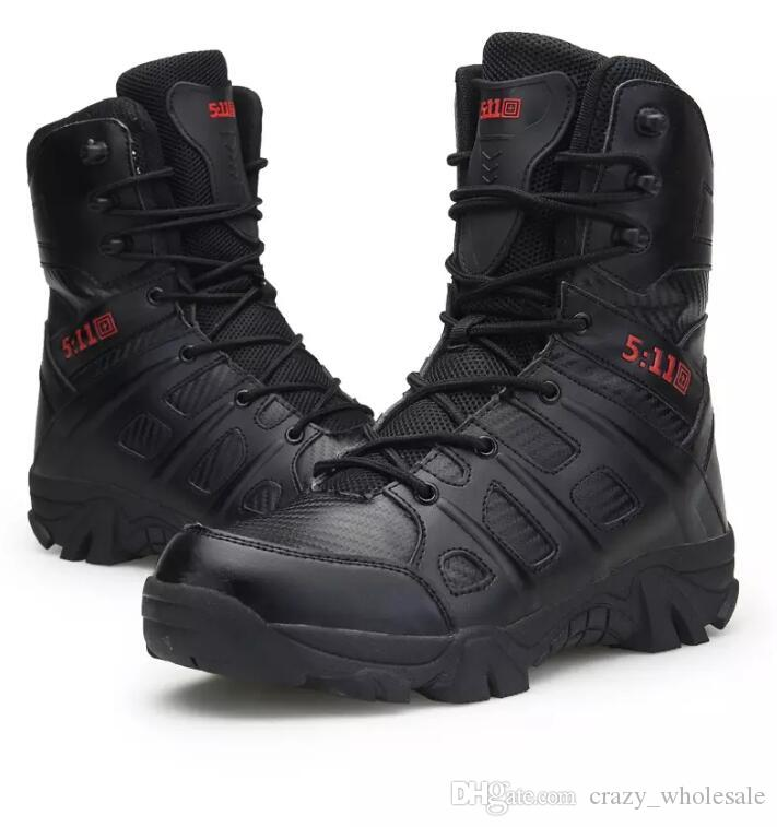 الخريف أحذية الرجال الأحذية العسكرية القوات الخاصة التكتيكية الصحراء القتالية الذكور تتبع التكتيكية التمهيد منتصف العجل أسود اللون US13