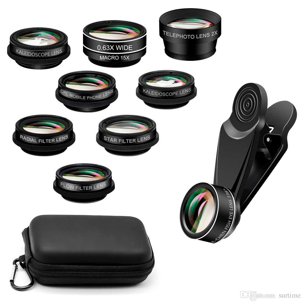 10 in 1 Mobile Phone photo Lenses Fish Eye Wide Angle Macro Camera Lens Set Universal Clip Photo Accessory