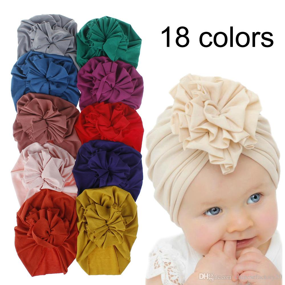 18 Styles Cute Infant Toddler Unisex flower Knot Indian Turban cap Kids Headbands Caps Baby floral Hat Solid soft Cotton Hairband Hats