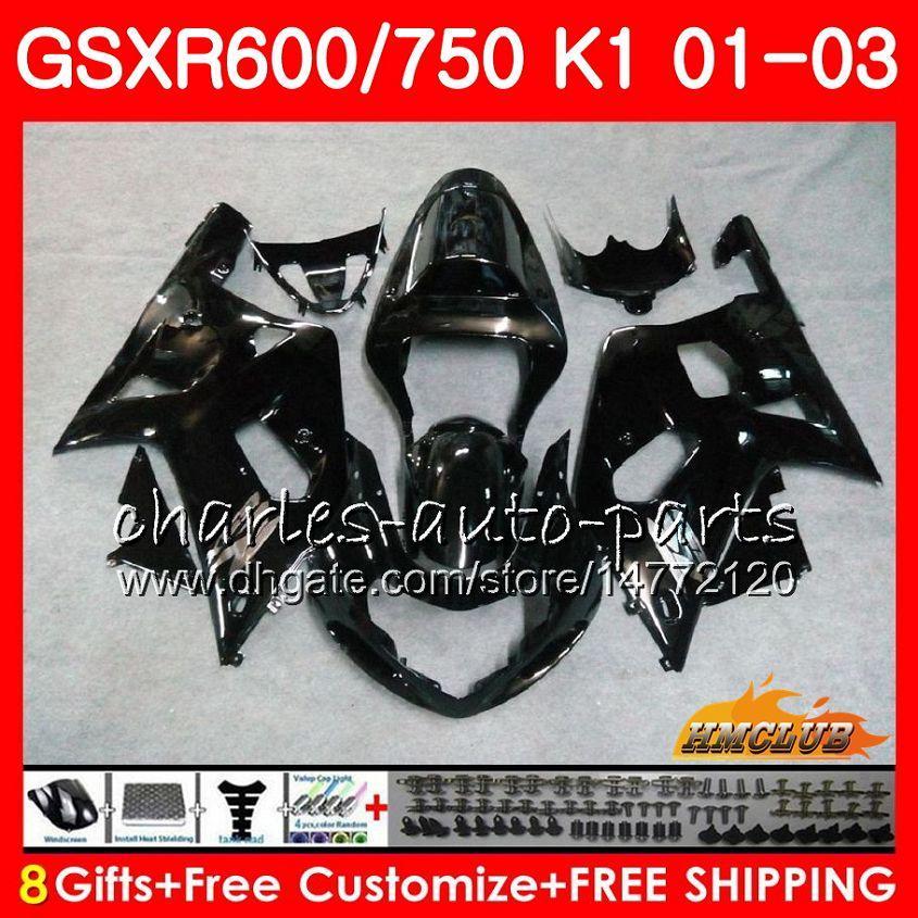 SUZUKI GSX-R750 Için 8 Gifts Gövde Parlak siyah GSXR 600 750 GSXR600 01 02 03 4HC.33
