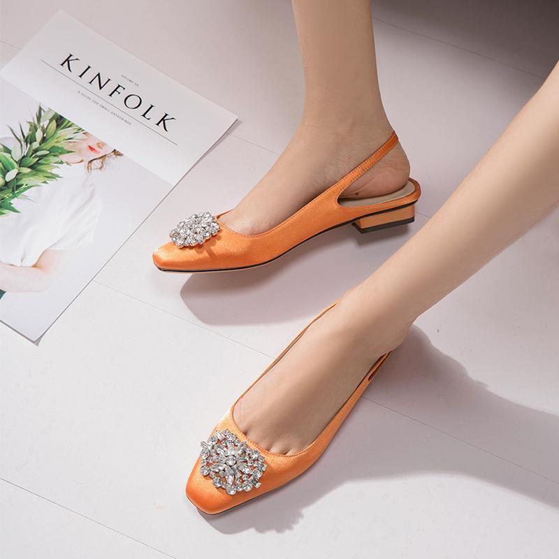 مصارع النساء أحذية الكعوب المنخفضة أحذية خفيفة الزفاف أحذية المرأة أزياء السيدات صيف مضخات أنثى حجر الراين صندل