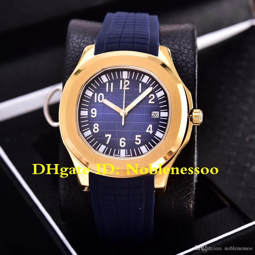 7 색상 최고 품질 시계 망 옐로우 골드 5167 5167R 40mm 고무 밴드 기계 자동 망 시계 투명 백 손목 시계