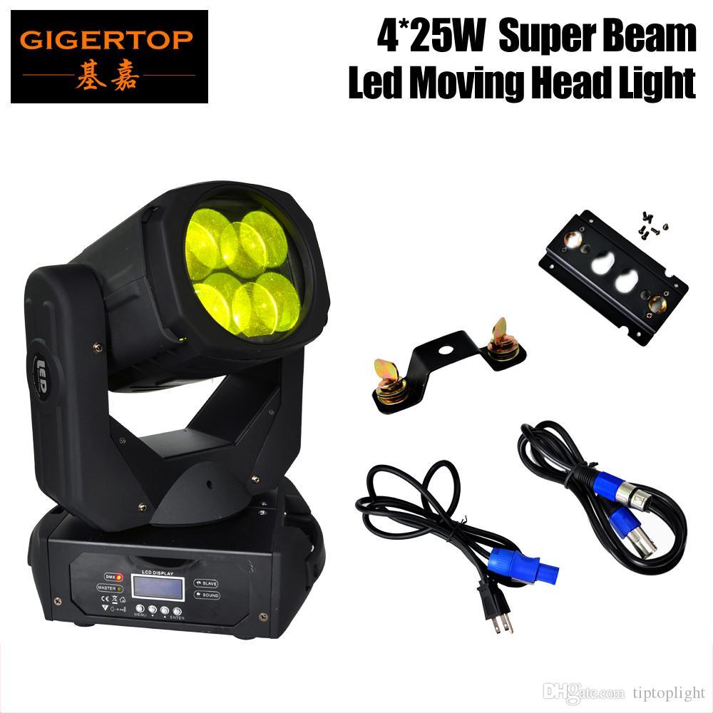 헤드 빔 라이트 TIPTOP 90V-240V 이동 헤드 라이트 4x25W RYBW 컬러 DJ 장비를 이동 뜨거운 판매 샘플 LED 슈퍼 빔