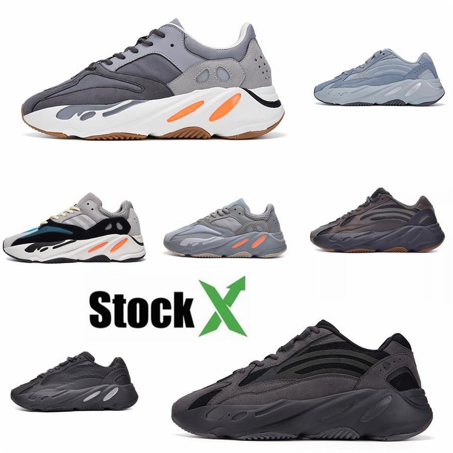 700 Dalga Runner Statik Atalet Saf Gri Erkekler Ve Kadınlar Eg7487 Kanye West Baba Ayakkabı Lüks Tasarımcı Parça Ve Saha Ayakkabı # QA424 Koşu Ayakkabıları