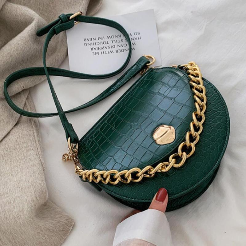 Crocodile pattern Saddle bag 2020 New Quality PU Leather Women's Designer Handbag Chain Tote Shoulder Messenger Bag