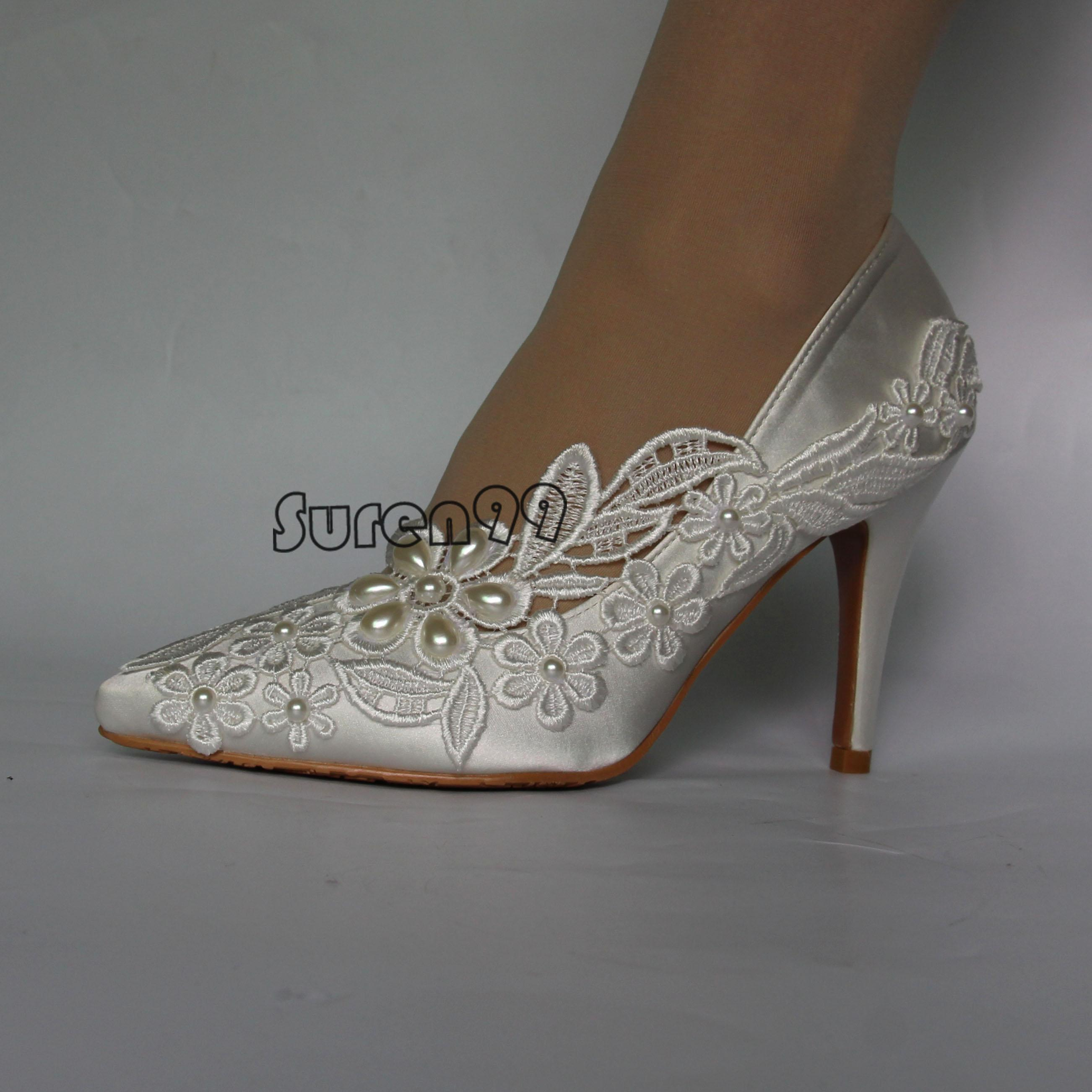 Womens Close Toe Wedding Shoes Crystal