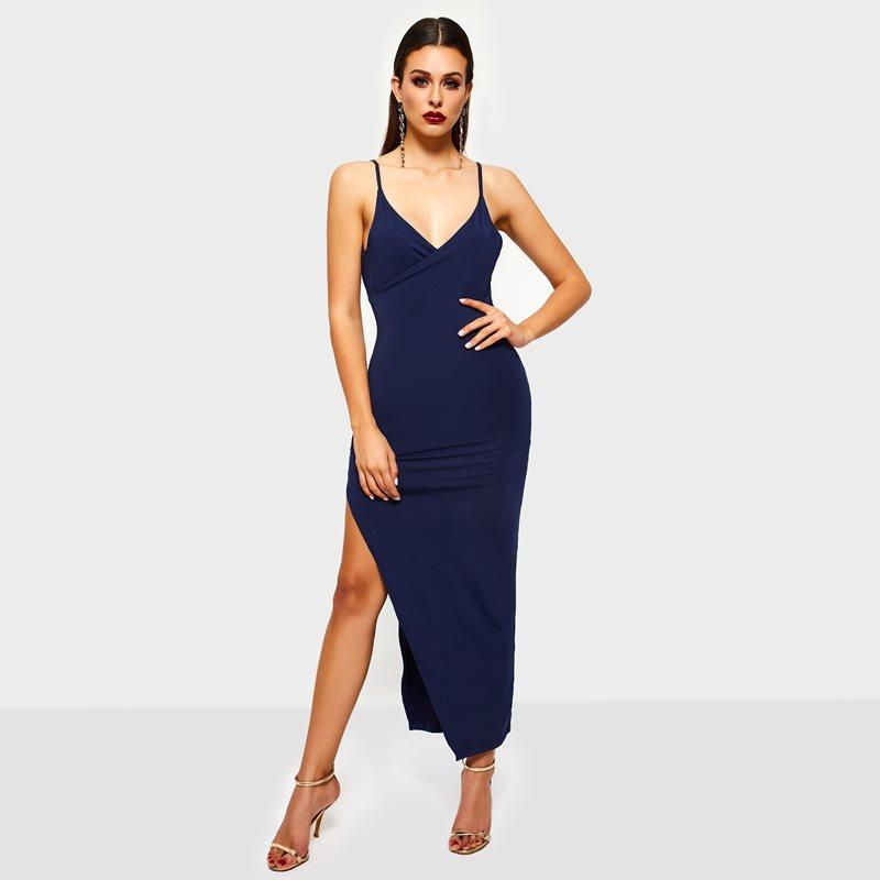 Großhandel Sommer Maxi Kleid Frauen Sleeveless V-Neck Split Dunkelblau Bodycon Damen Party Club Backless Sundress Lange Sexy Kleid FVHVU