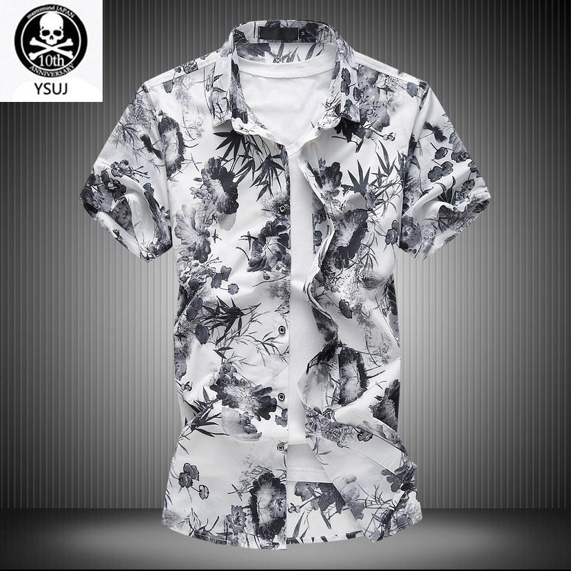 6XL Summer Oversize Men's Short Sleeve Blouse Ice Silk Breathable Big Size Fragmented Blouse Half-sleeve Flower Casual Shirts
