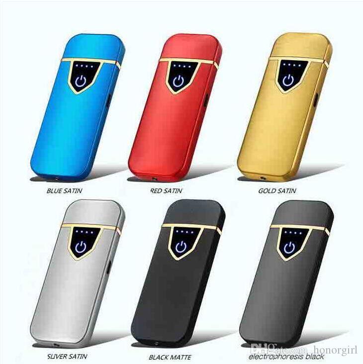 Novità del Touch Sensor impronte Double Face accendisigari ricaricabile metallo LCD Pulse USB senza fiamma accendini con Gift Box 6 colori