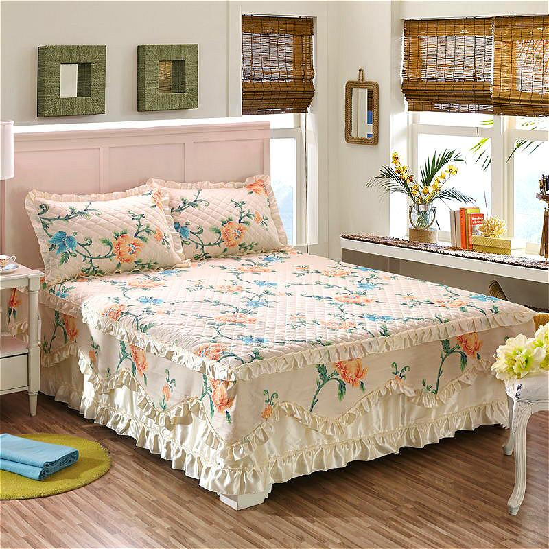 Letto Gonna in cotone trapuntato pizzo Bedskirt floreale increspato Bed Gonna Pastorale pizzo di cotone trapuntato Copriletto Drop Ship