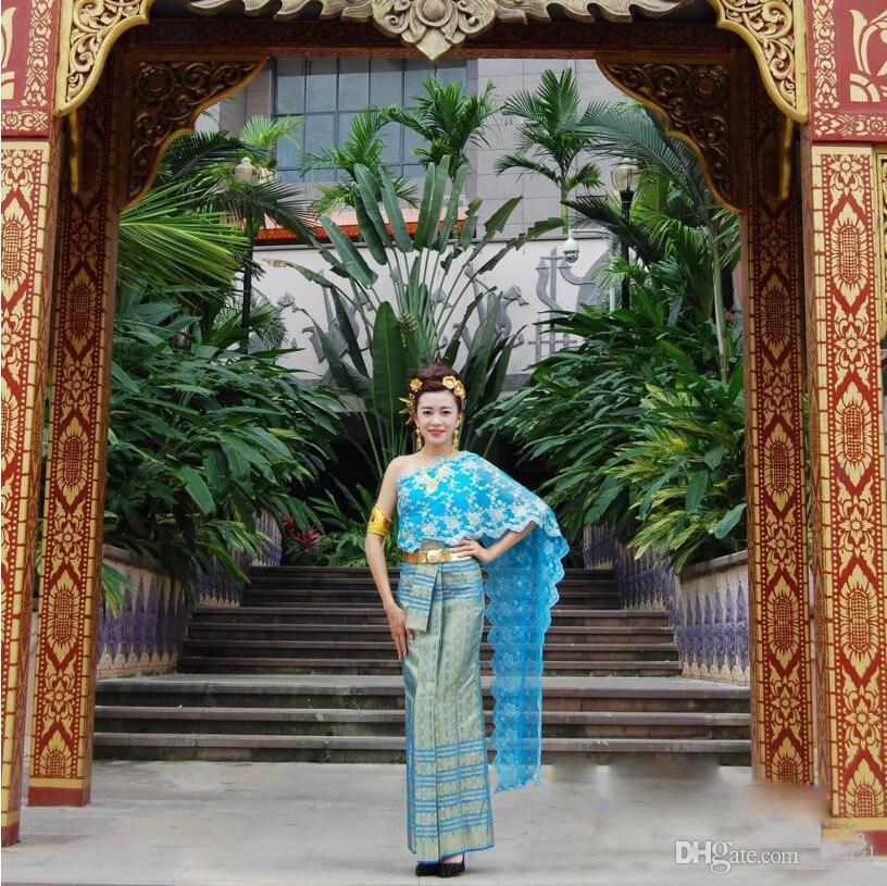 Asian Ethnic Costume Thai Vietnam, Laos Dai nazione Folk Dance abito tradizionale blu regina di spalla stile antico Thailandia Outfit