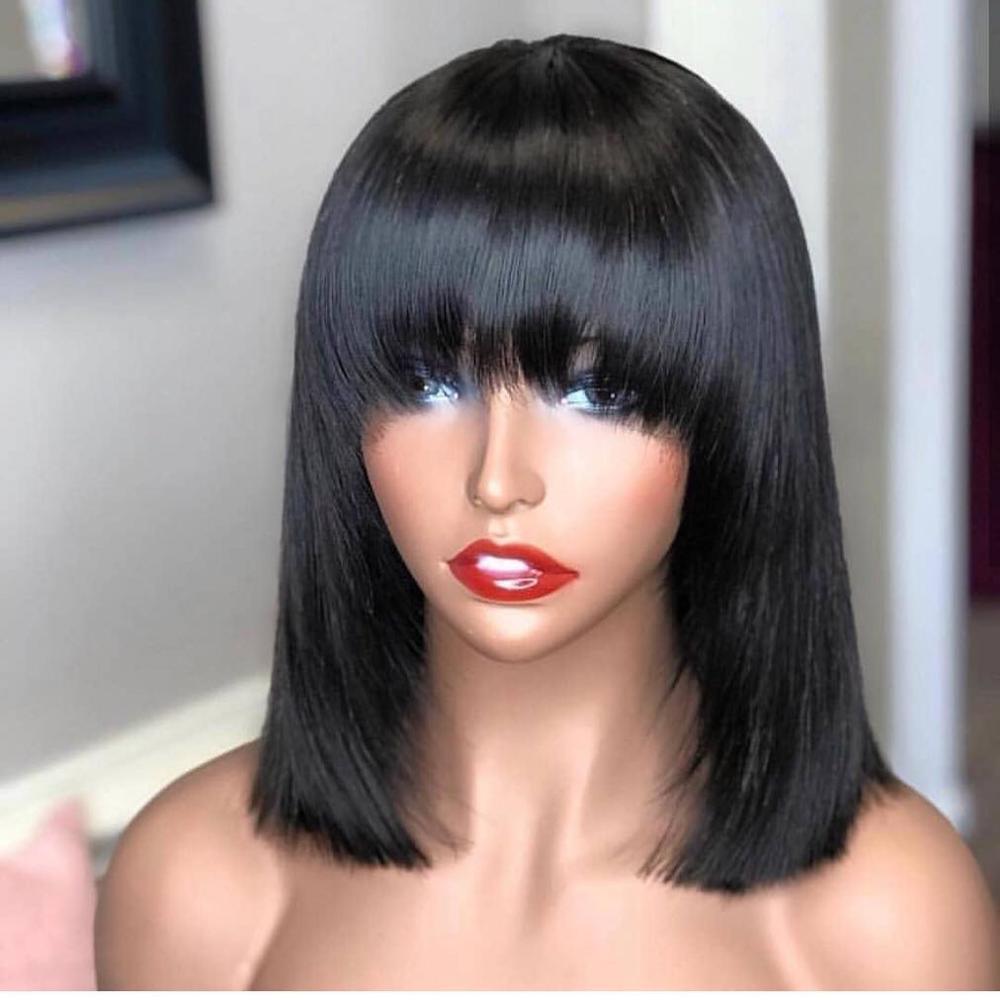 13 * 4 droites courtes Bob 150% avant de dentelle perruque de cheveux humains pour les femmes avec une frange Hair Cut Remy Brésilien Faible Ratio Pluck