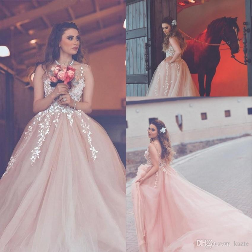 Arabic Light Pink A Line Wedding Dresses Appliques Sheer Neck Backless Long country blush Wedding Reception Wear Formal Gowns