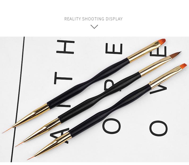 Preto Gel UV prego Escova Escova Manicure Stripe Linha 7/9/11 milímetros duplo Fina Escova de Unhas