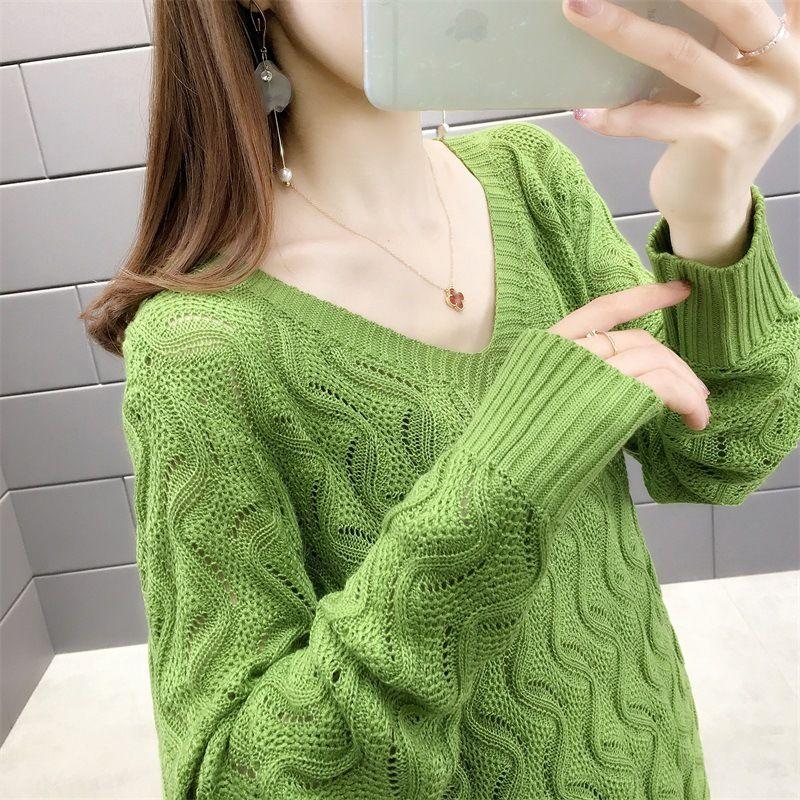 2020 бренд мода роскошный дизайнер женская одежда весна новый V-образным вырезом волна полые вязать пуловер с длинным рукавом тонкий твердые женские дизайнерские футболки