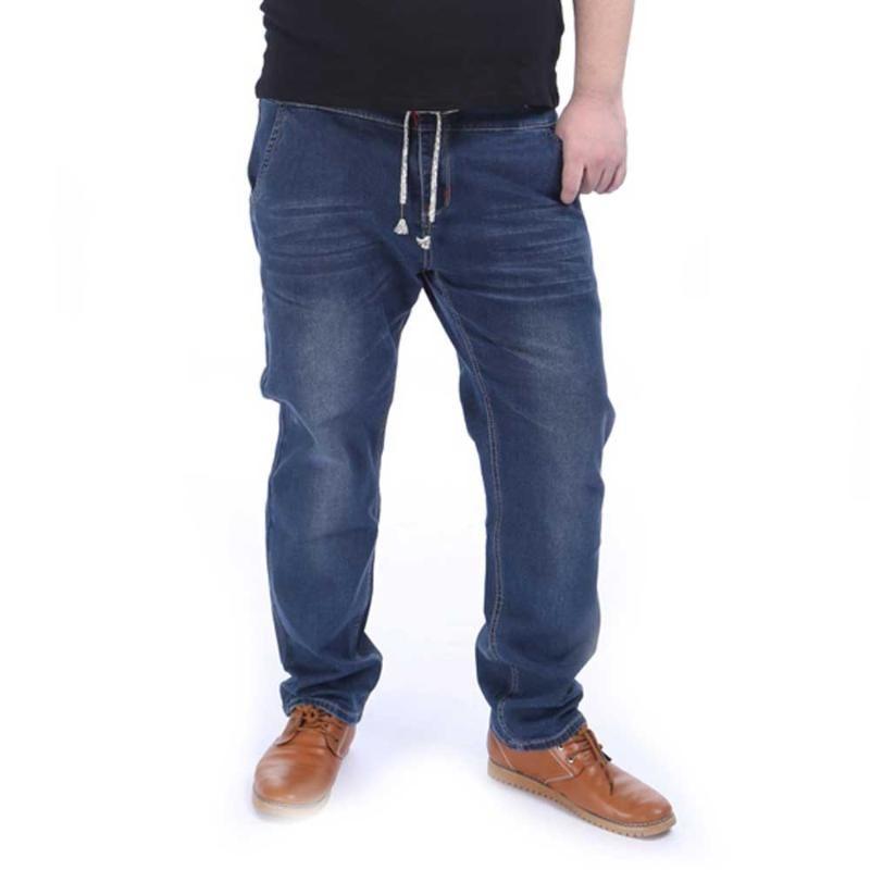 Uomo Elastico In Vita Jeans dritti Stretch Denim Pantaloni Pantaloni Fatti A Mano di grandi dimensioni più il formato 2XL-5XL