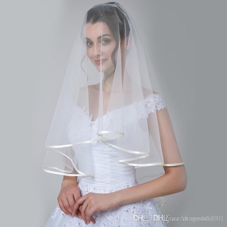2019 الأزياء الوجه الزفاف الحجاب زفاف مطرز الحجاب طبقة واحدة زينة الزفاف الأبيض الحجاب حزب بسيطة