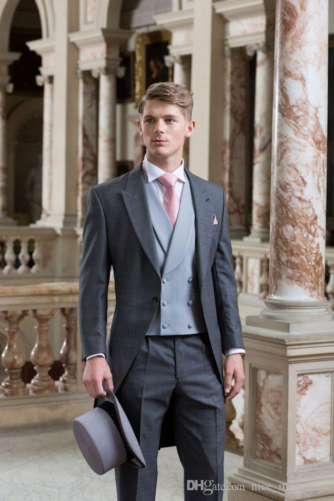 2019 Latest Coat Pant Designs Grey Tailcoat Double Breasted Formal Wedding Suits For Men Custom Made 3 Pieces Tuxedo Masculino C