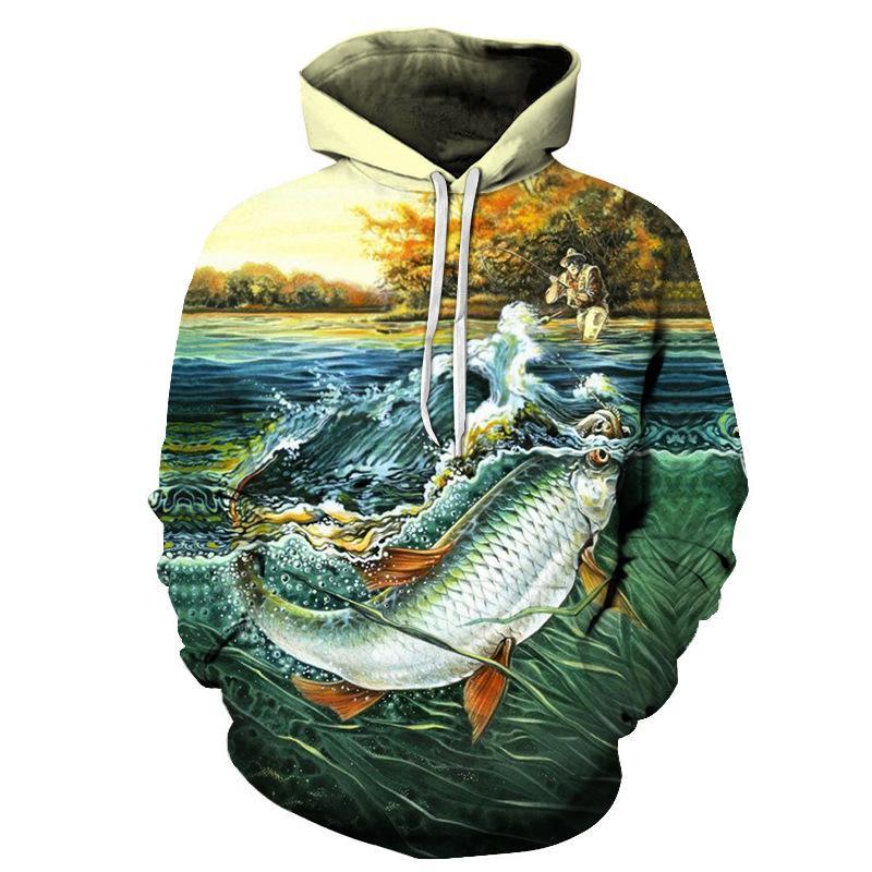Peixe 3 d Hoodie Modal Fun peixe Imprimir Men Digital e Pesca pulôver Harajuku engraçado da camisola das mulheres