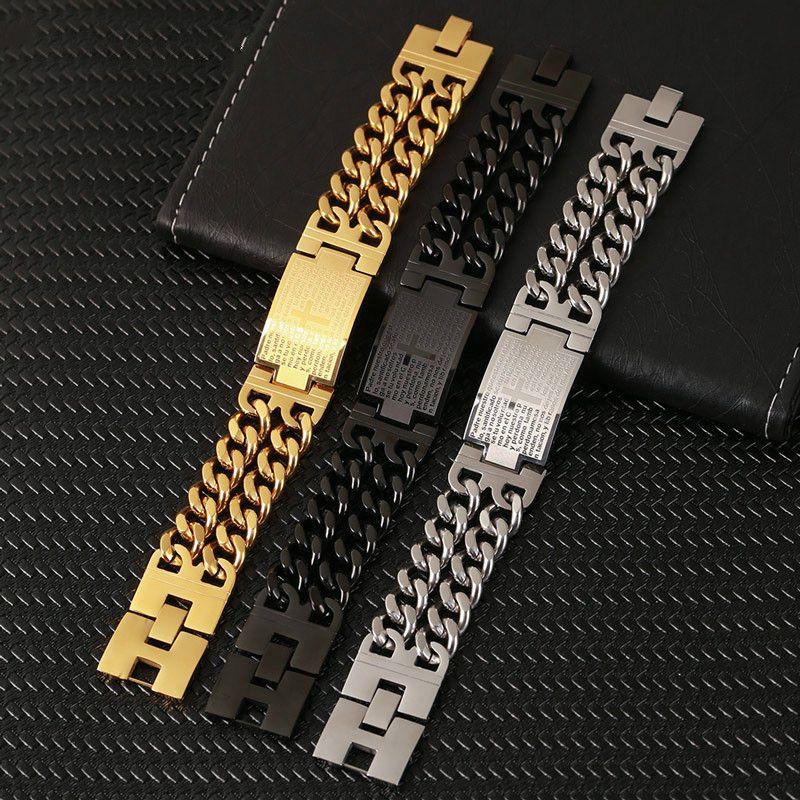 Catena del braccialetto punk Gesù braccialetti trasversali per gli uomini di colore oro in acciaio inossidabile fascino del braccialetto doppio di mano degli uomini Wristband Jewelry