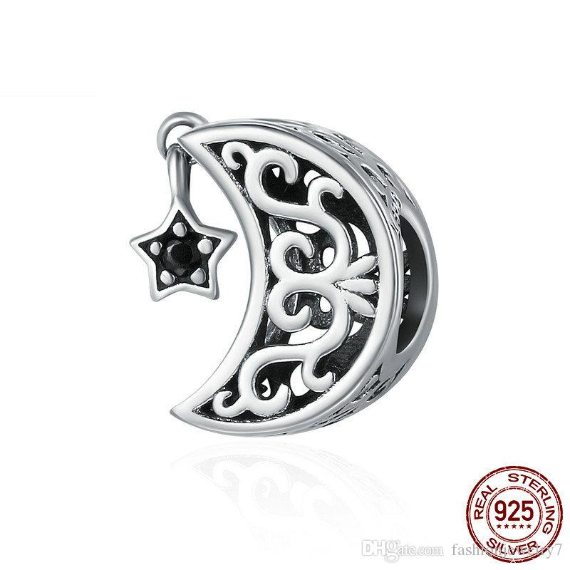 Chine oxydée 925 Sterling Argent Crescent Star Star Black CZ Dangle Charm Fit Charm Bracelet Fine Bijoux Cadeau Diy Accessoires Bijouterie