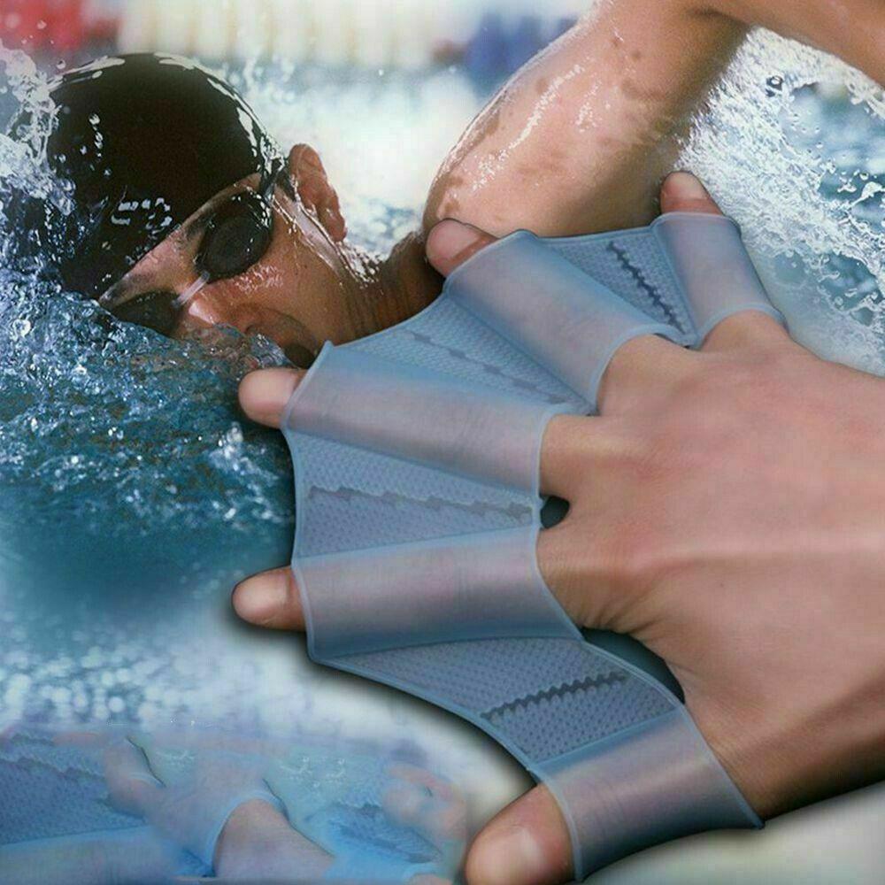 Летом силиконовые плавники для рук ласты плавать ладонь палец перепончатые перчатки весло