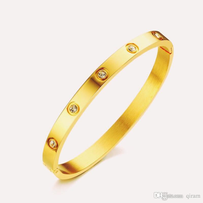 Heiße Art und Weise 18k Gold Plating BraceletsBangles für Frauen Rose Gold Farbe Edelstahl mit Charme CZ-Stulpe-Armband-Liebe-Schmuck-Geschenk