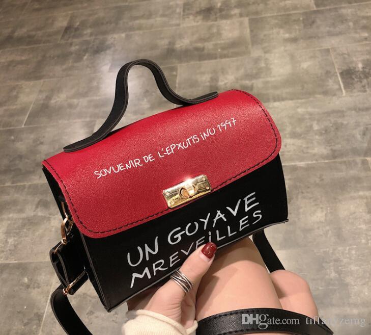 2019 auf der new2019 neue kleine Tasche weibliche koreanische Version des Schlosses Handtasche Handtasche Brief Umhängetasche Messenger Bag