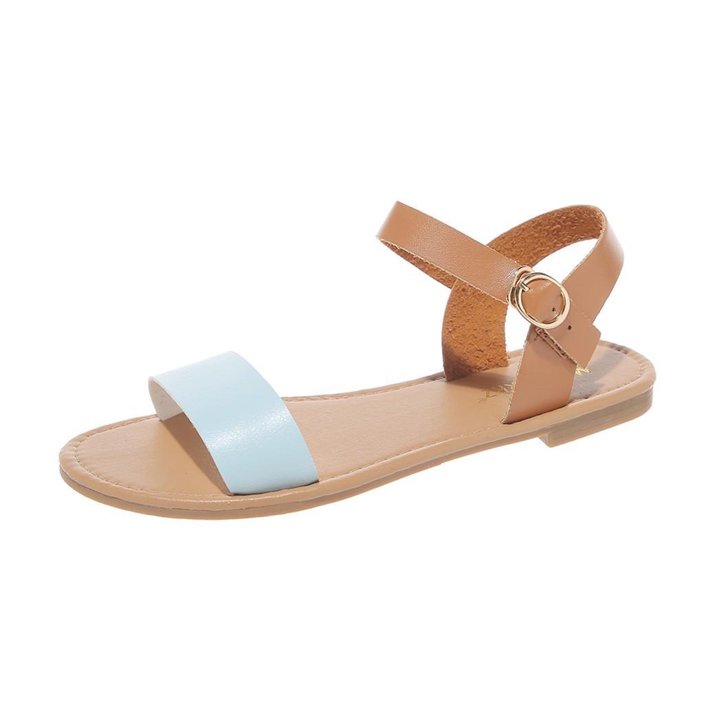 Sagace sandalias de las mujeres más el tamaño de cuero de Roma planas color mixto, pío sandalias de punta señoras ocasionales de la hebilla de Colorblock boca de los pescados Zapatos